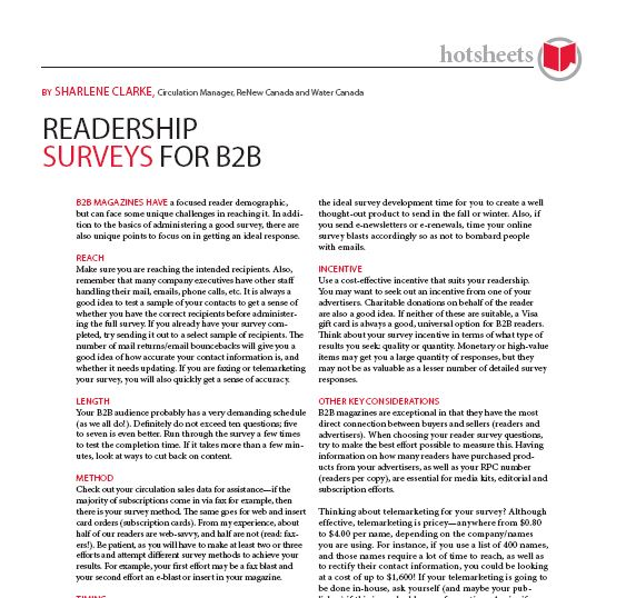 Readership Surveys for B2B by Sharlene Clarke