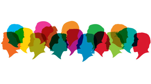 Colourful silhoettes of heads in conversation