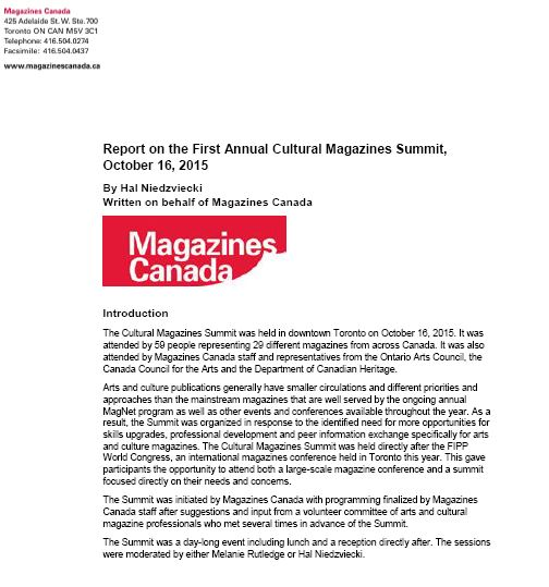 Report on the First Annual Cultural Magazines Summit