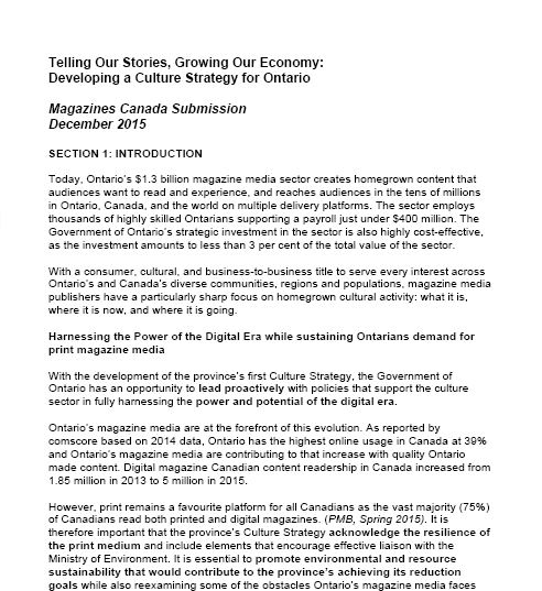 Telling Our Stories, Growing Our Economy: Developing a Culture Strategy in Ontario
