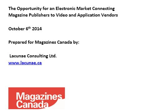 The Opportunity for an Electronic Market Connecting Magazine Publishers to Video and Application Vendors