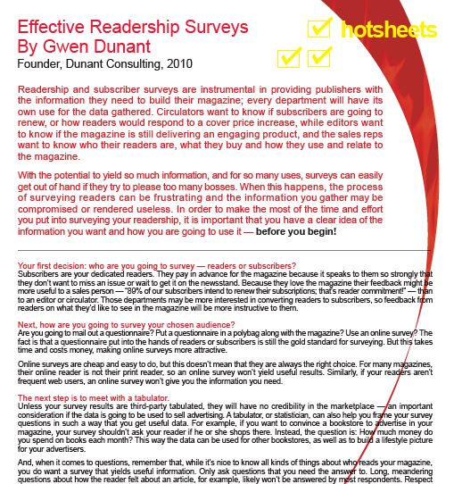 Effective Readership Surveys by Gwen Dunant