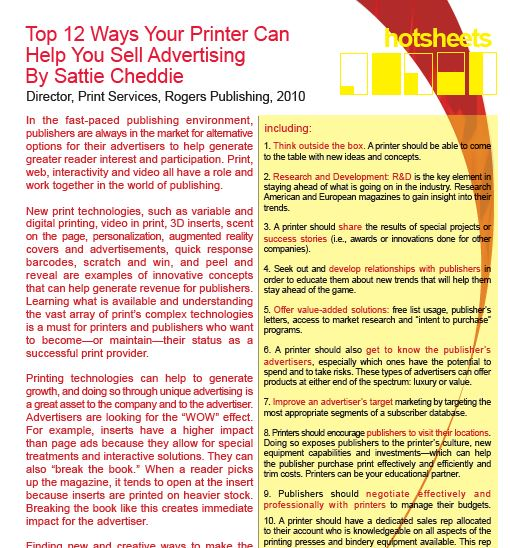 Top 12 Ways Your Printer Can Help You Sell Advertising by Sattie Cheddie