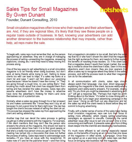 Sales Tips for Small Magazines by Gwen Dunant