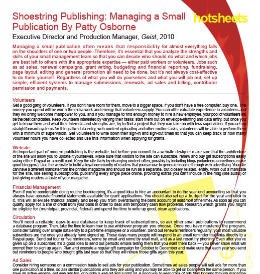 Shoestring Publishing: Magazing a Small Publication by Patty Osborne
