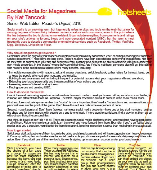 Social Media for Magazines by Kat Tancock