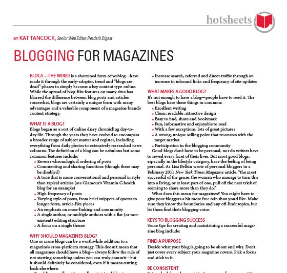 Blogging for Magazines by Kat Tancock