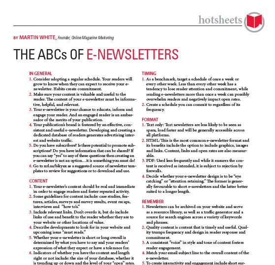 The ABCs of Enewsletters by Martin White