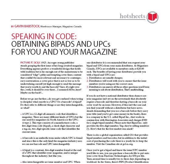 Speaking in Code: Obtaining Bipads and UPCs for You and Your Magazine by Gavin Babstock