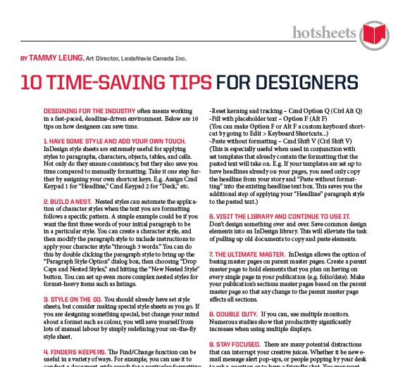 10 Time-Saving Tips for Designers by Tammy Leung