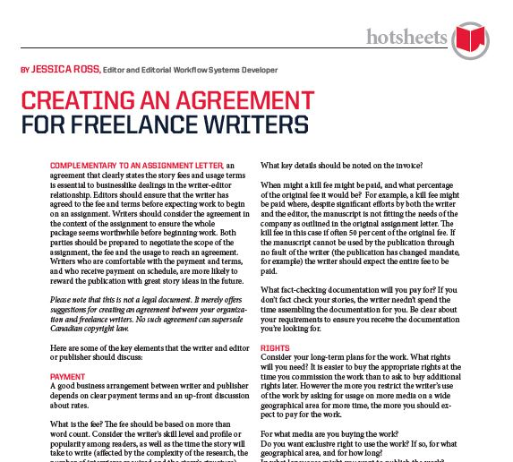 Creating an Agreement for Freelance Writers by Jessica Ross