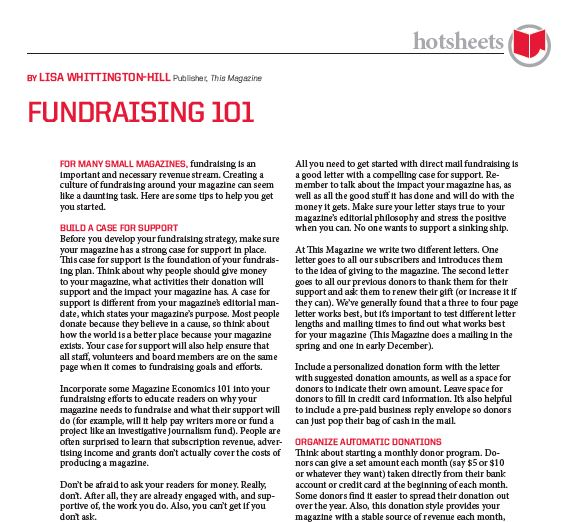 Fundraising 101 by Lisa Whittington-Hill
