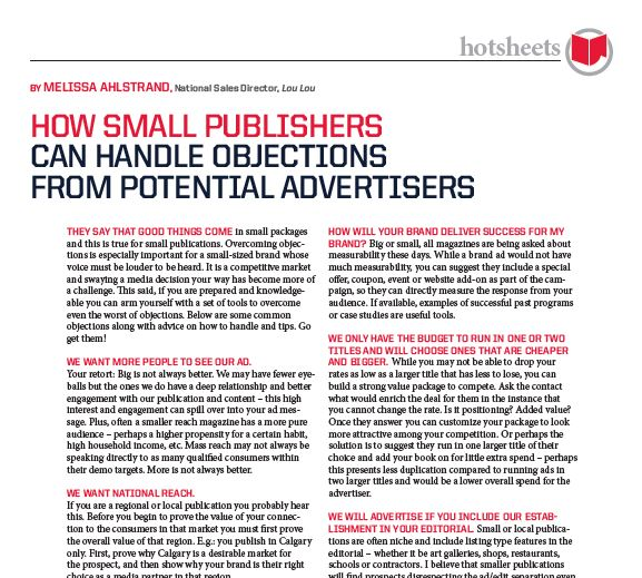 How Small Publishers can Handle Objections from Potential Advertisers by Melissa Ahlstrand