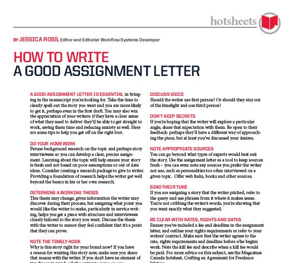 How To Write A Good Assignment Letter By Jessica Ross  Magazines Canada