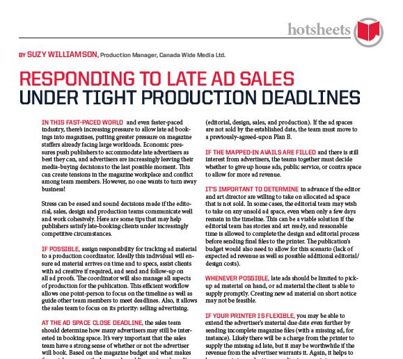 Responding to Late Ad Sales Under Tight Production Deadlines by Suzy Williams