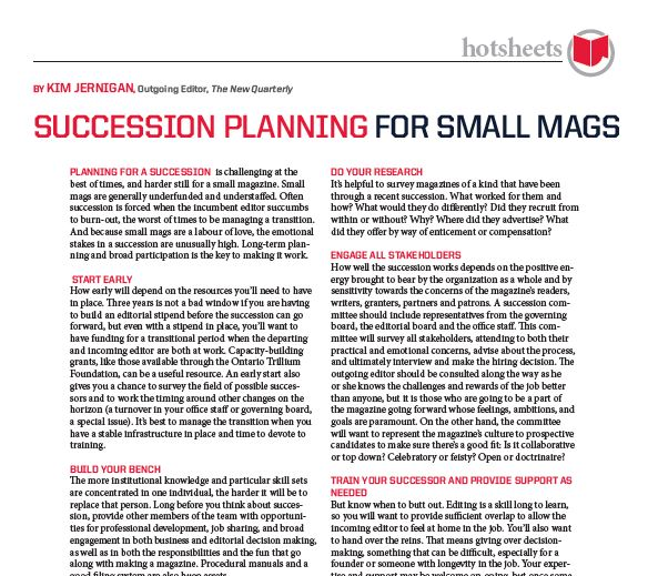 Succession Planning for Small Mags by Kim Jernigan