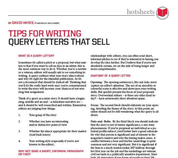 Tips for Writing Query Letters that Sell by David Hayes