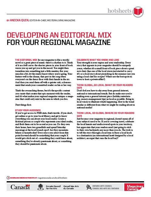 Developing an Editorial Mix for Your Regional Magazine by Anicka Quin