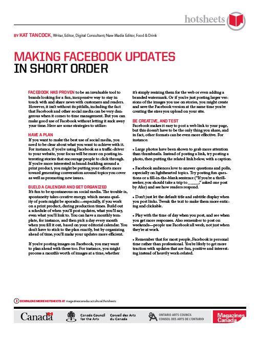 Making Facebook Updates in Short Order by Kat Tancock
