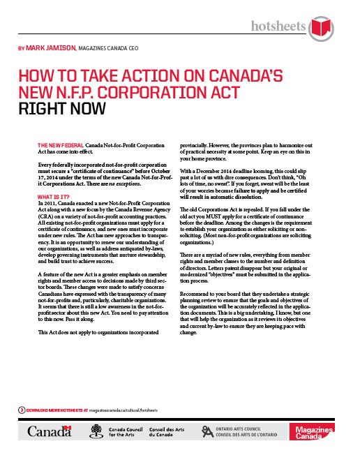 How to Take Action on Canada's New N.F.P. Corporation Act Right Now by Mark Jamison