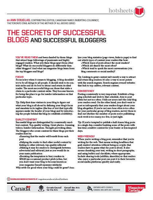 The Secrets of Successful Blogs and Successful Bloggers by Ann Douglas