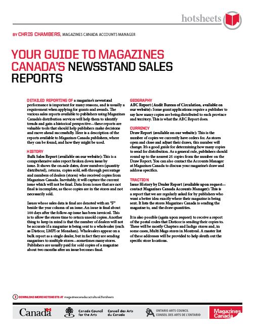 Your Guide to Magazines Canada's Newsstand Sales Reports by Chris Chambers