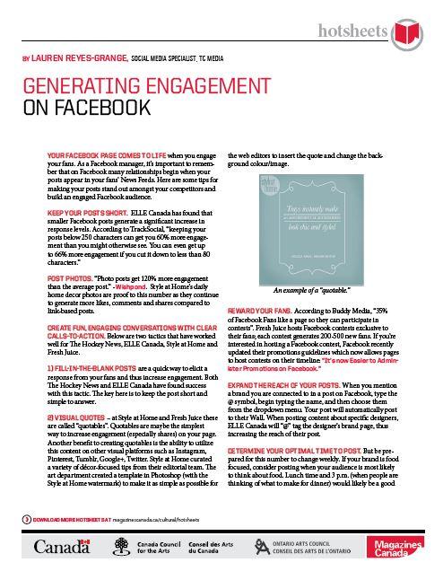 Generating Engagement on Facebook by Lauren Reyes-Grange
