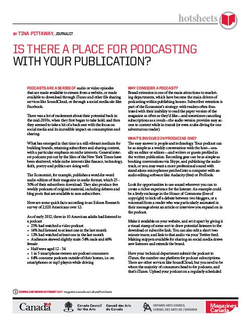 Is There a Place for Podcasting with Your Publication? By Tina Pittaway