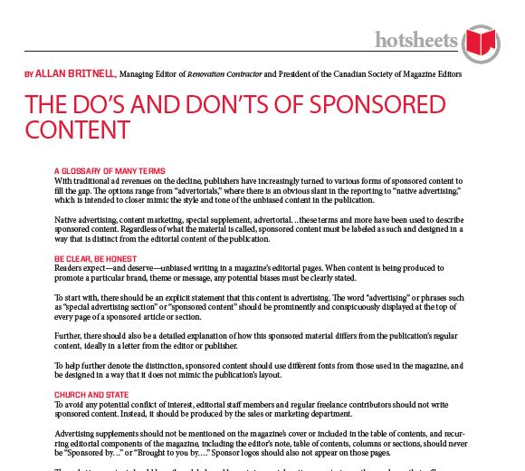 The Dos and Don'ts of Sponsored Content by Allan Britnell