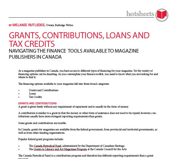 Grants, Contributions, Loans and Tax Credits by Melanie Rutledge