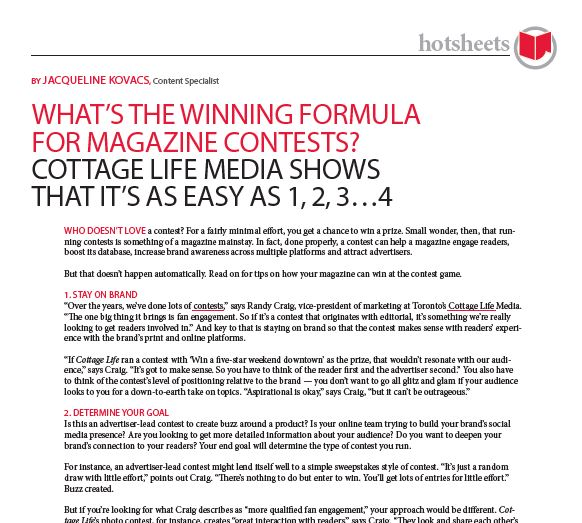 What's the Winning Formula for Magazine Contests? Cottage Life Media Shows That It's as Easy as 1, 2, 3...4