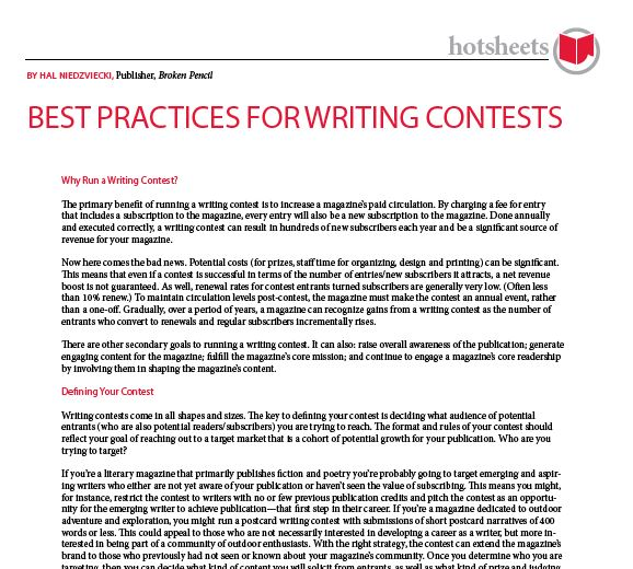 Best Practices for Writing Contests by Hal Niedzviecki