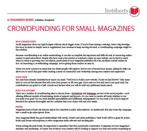 Crowdfunding for Small Magazines by Rhiannon Ward