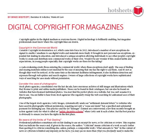 Digital Copyright for Magazines by Grace Westcott
