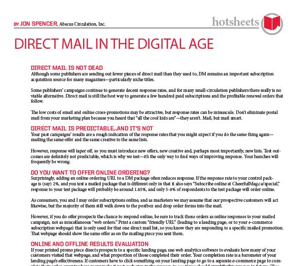 Direct Mail in the Digital Age by Jon Spencer