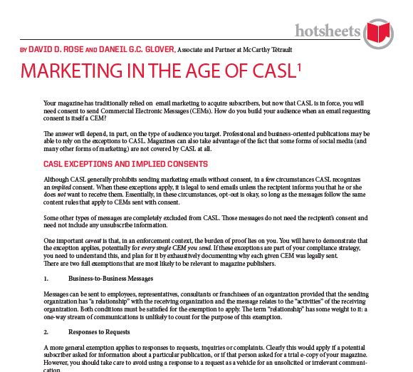 Marketing in the Age of CASL by David D. Rose and Daniel G.C. Glover