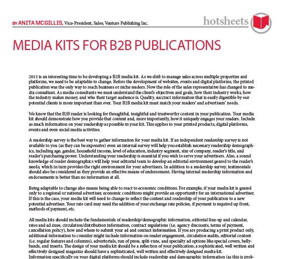 Media Kits for B2B Publications by Anita McGillis