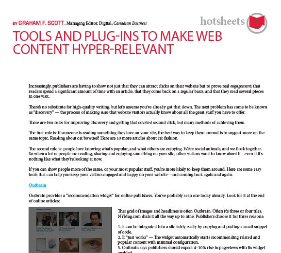 Tools and Plug-Ins to Make Web Content Hyper-Relevant by Graham F. Scott