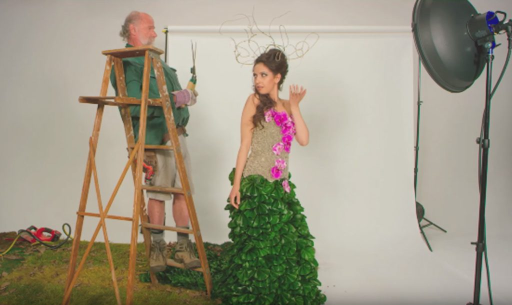 Still from the Canadian Magazine Mashup video, Garden Couture
