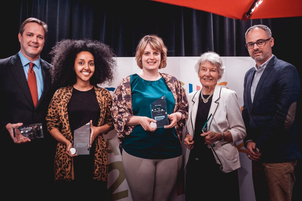 Winners of the Volunteer of the Year awards at MagNet 2016: from L to R, Chris Purcell, Brnesh Berhe, Jane Hope, Patricia Clarke and Magazines Canada CEO Matthew Holmes.