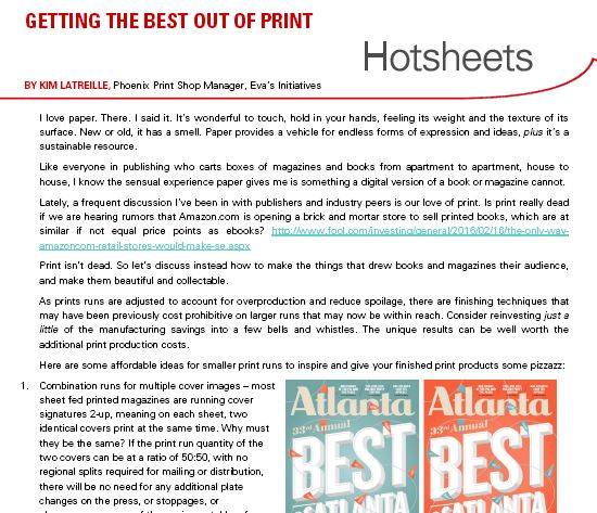 Clip of Getting the Best Out of Print by Kim Latreille Hotsheet
