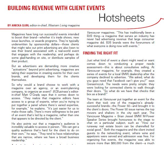 Clip of English Hotsheet on Client Events with Anicka Quin