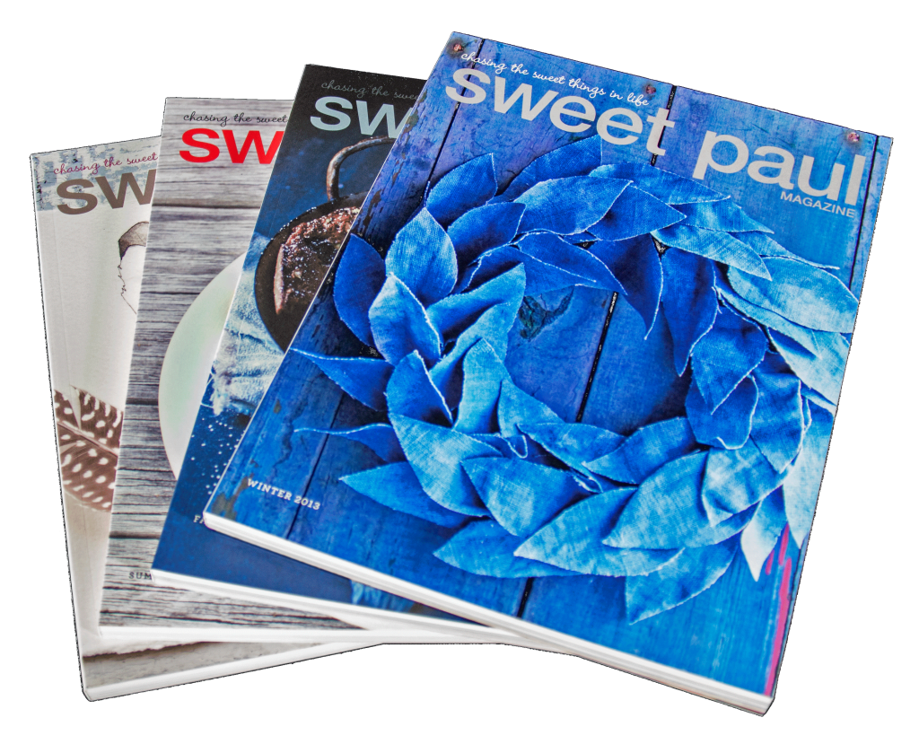 A collection of issues of Sweet Paul magazine
