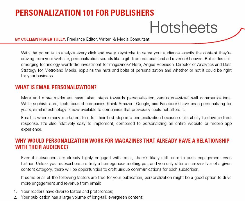 Clip from Hotsheet Data Personalization by Colleen Fisher Tully