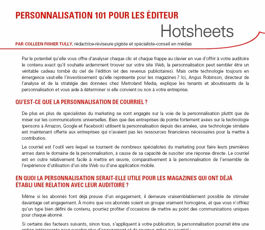 Clip of French Hotsheet Data Personalization by Colleen Fisher Tully