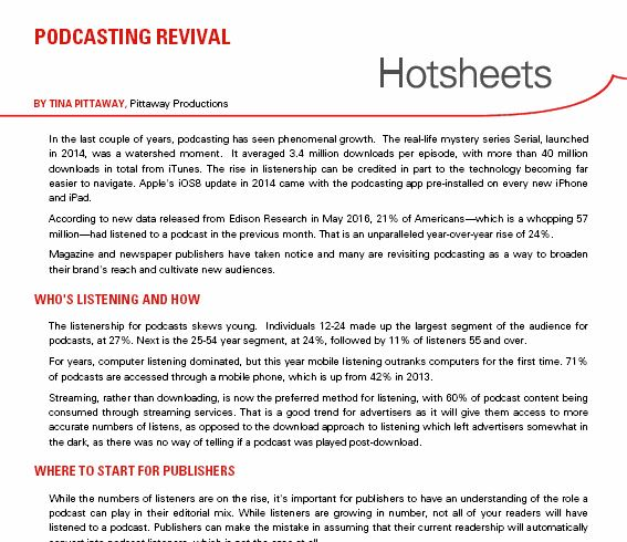 Clip of Hotsheet Podcasting Revival by Tina Pittaway