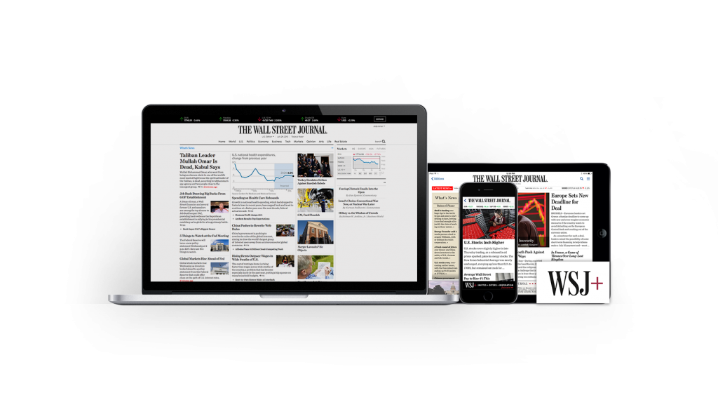 WSJ Digital Products on desktop, mobile and tablet