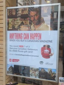 Photo of Magazine Moments Contest Ad at a Retail Location