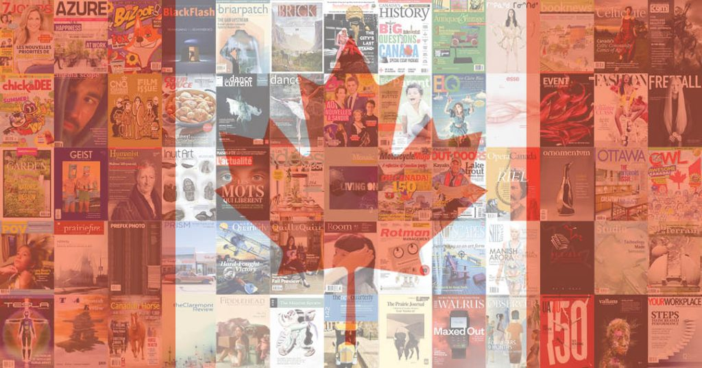 A mosaic of Canadian magazine covers that form the Canadian maple leaf flag