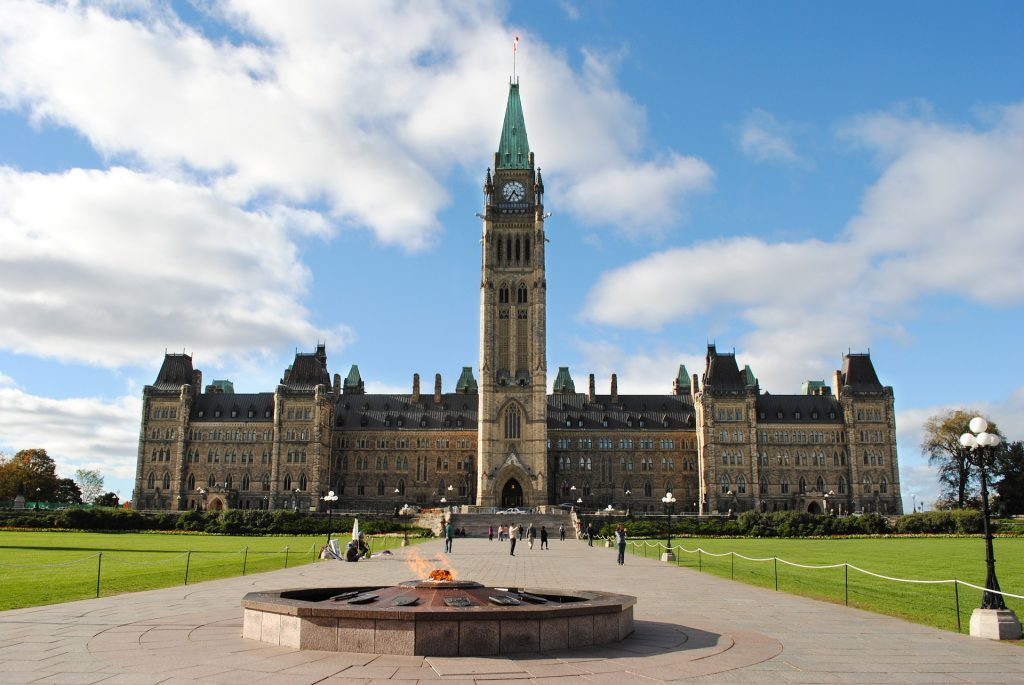 Photograph of Parliament Hill in Ottawa, Ontario.
